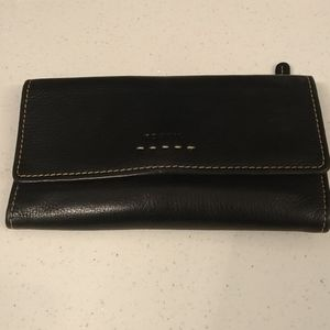 Fossil leather black womens wallet